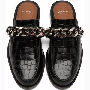Givenchy Black Croc Embossed Chain Trim Mule